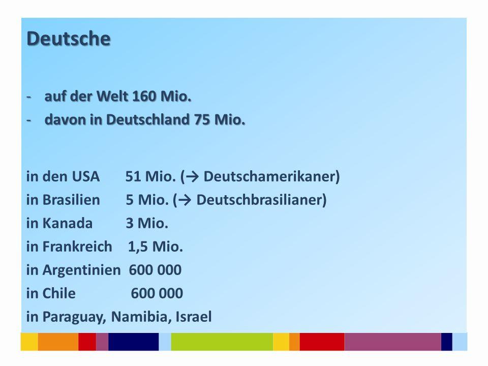 Deutsche -auf der Welt 160 Mio. -davon in Deutschland 75 Mio. in den USA 51 Mio. (→ Deutschamerikaner) in Brasilien 5 Mio. (→ Deutschbrasilianer) in K