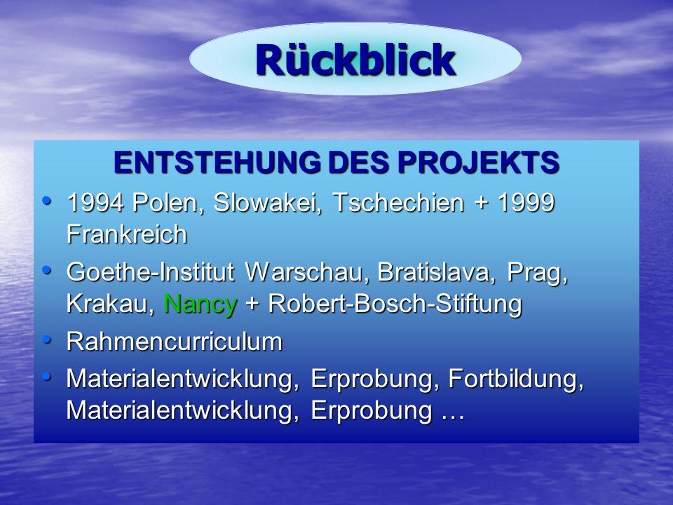Rückblick ENTSTEHUNG DES PROJEKTS 1994 Polen, Slowakei, Tschechien + 1999 Frankreich 1994 Polen, Slowakei, Tschechien + 1999 Frankreich Goethe-Institu