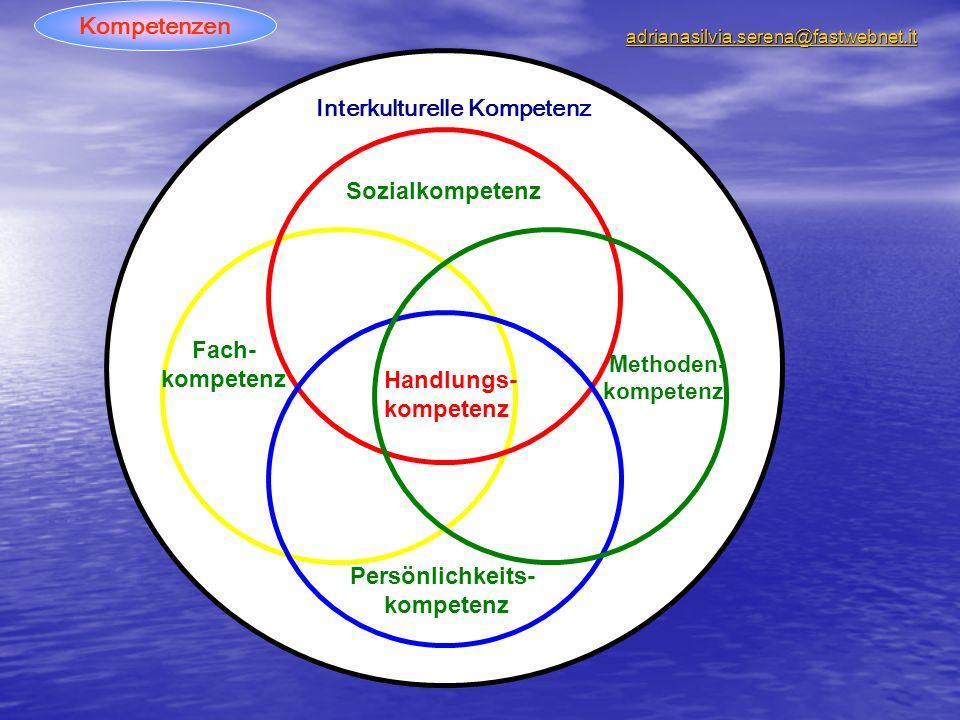 Sozialkompetenz Fach- kompetenz Persönlichkeits- kompetenz Methoden- kompetenz Handlungs- kompetenz Interkulturelle Kompetenz Kompetenzen adrianasilvia.serena@fastwebnet.it