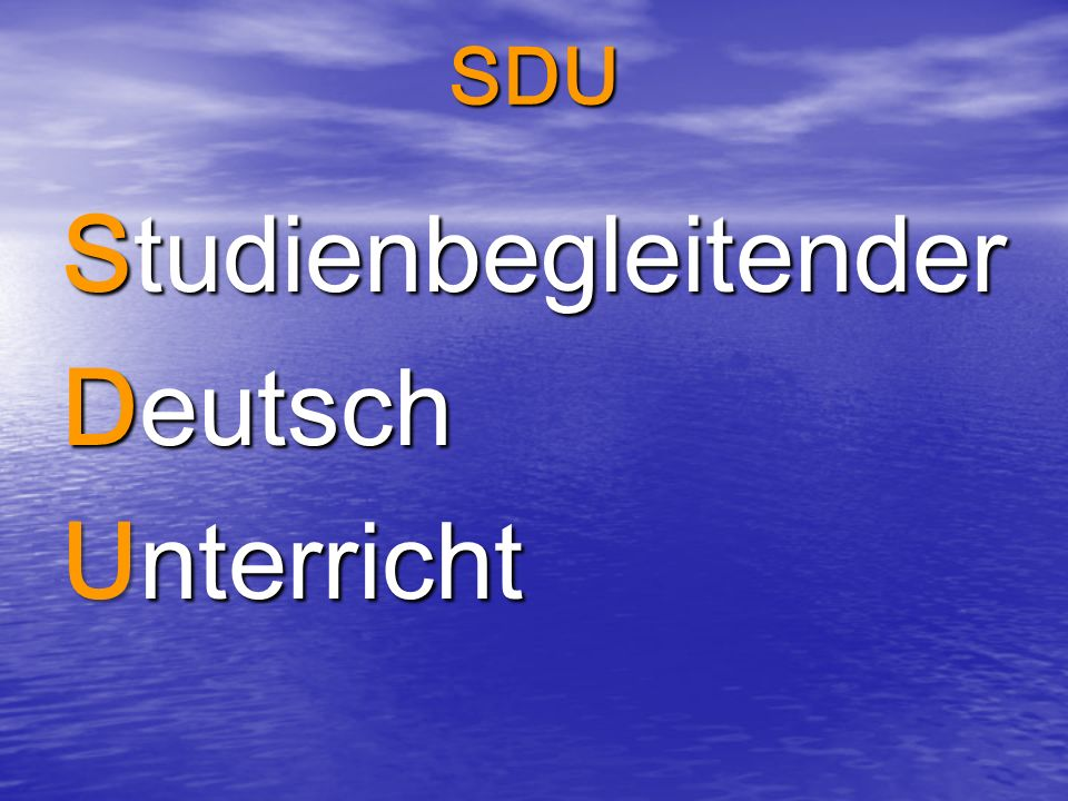 SDU Studienbegleitender Deutsch Unterricht