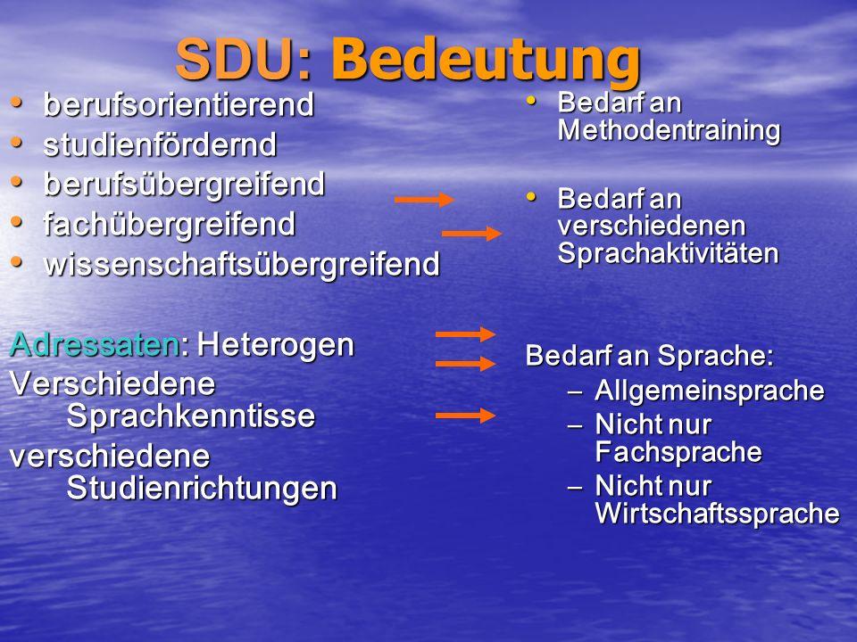 SDU: Bedeutung SDU: Bedeutung berufsorientierend berufsorientierend studienfördernd studienfördernd berufsübergreifend berufsübergreifend fachübergrei