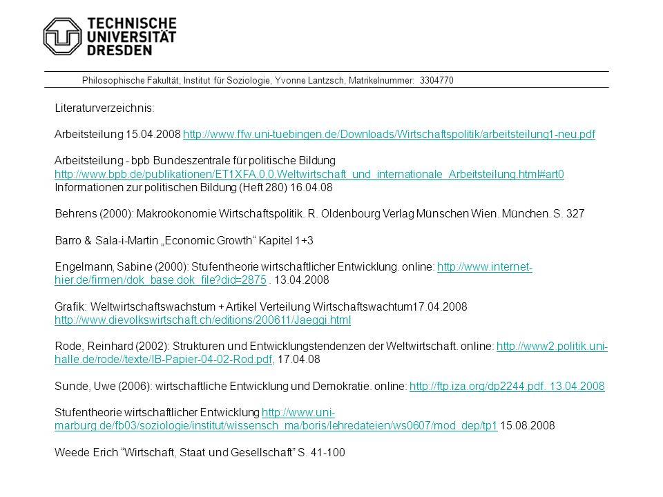 Literaturverzeichnis: Arbeitsteilung 15.04.2008 http://www.ffw.uni-tuebingen.de/Downloads/Wirtschaftspolitik/arbeitsteilung1-neu.pdfhttp://www.ffw.uni-tuebingen.de/Downloads/Wirtschaftspolitik/arbeitsteilung1-neu.pdf Arbeitsteilung - bpb Bundeszentrale für politische Bildung http://www.bpb.de/publikationen/ET1XFA,0,0,Weltwirtschaft_und_internationale_Arbeitsteilung.html#art0 Informationen zur politischen Bildung (Heft 280) 16.04.08 Behrens (2000): Makroökonomie Wirtschaftspolitik.