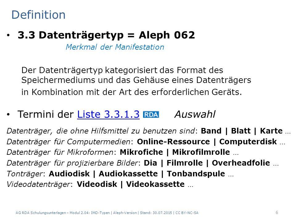 Termini der Liste 3.3.1.3 AuswahlListe 3.3.1.3 Datenträger, die ohne Hilfsmittel zu benutzen sind: Band | Blatt | Karte … Datenträger für Computermedi