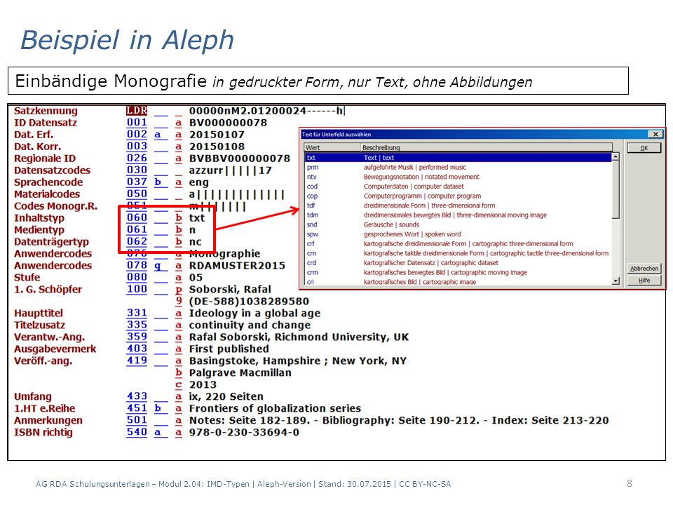 AG RDA Schulungsunterlagen – Modul 2.04: IMD-Typen | Aleph-Version | Stand: 30.07.2015 | CC BY-NC-SA 8 Einbändige Monografie in gedruckter Form, nur Text, ohne Abbildungen Beispiel in Aleph