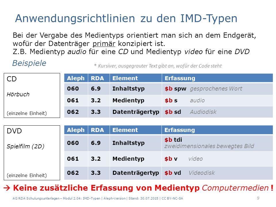 AG RDA Schulungsunterlagen – Modul 2.04: IMD-Typen | Aleph-Version | Stand: 30.07.2015 | CC BY-NC-SA 9 Bei der Vergabe des Medientyps orientiert man sich an dem Endgerät, wofür der Datenträger primär konzipiert ist.