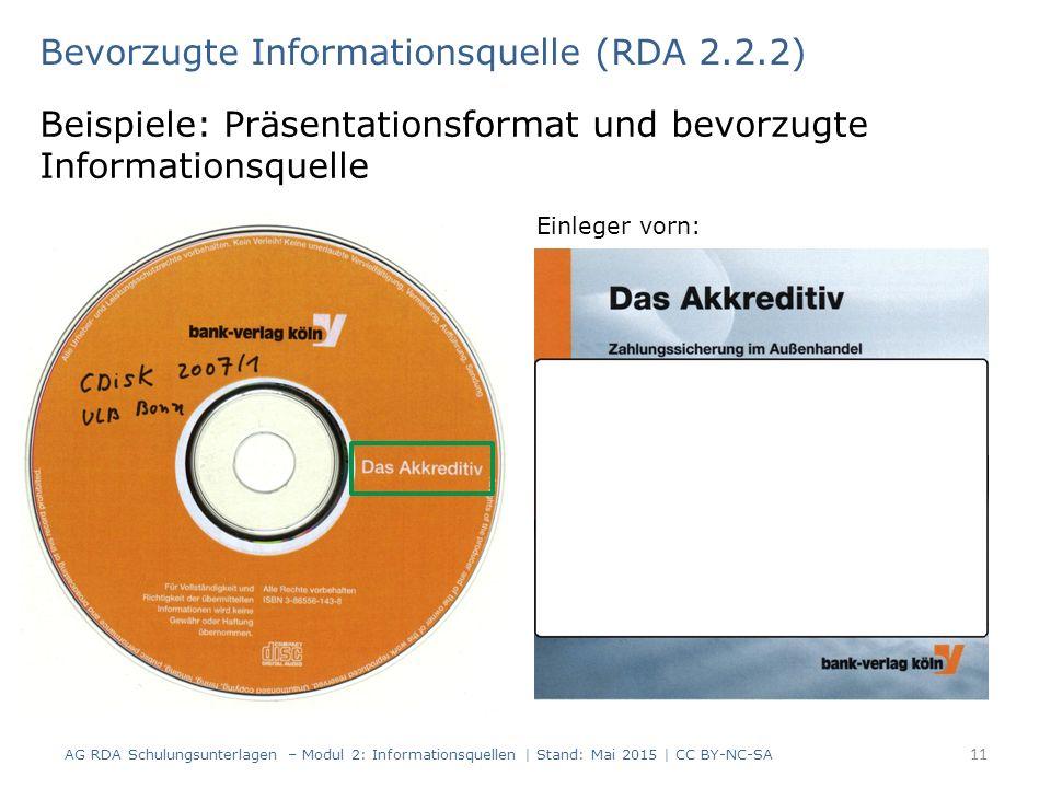 Bevorzugte Informationsquelle (RDA 2.2.2) Beispiele: Präsentationsformat und bevorzugte Informationsquelle Einleger vorn: AG RDA Schulungsunterlagen – Modul 2: Informationsquellen | Stand: Mai 2015 | CC BY-NC-SA 11
