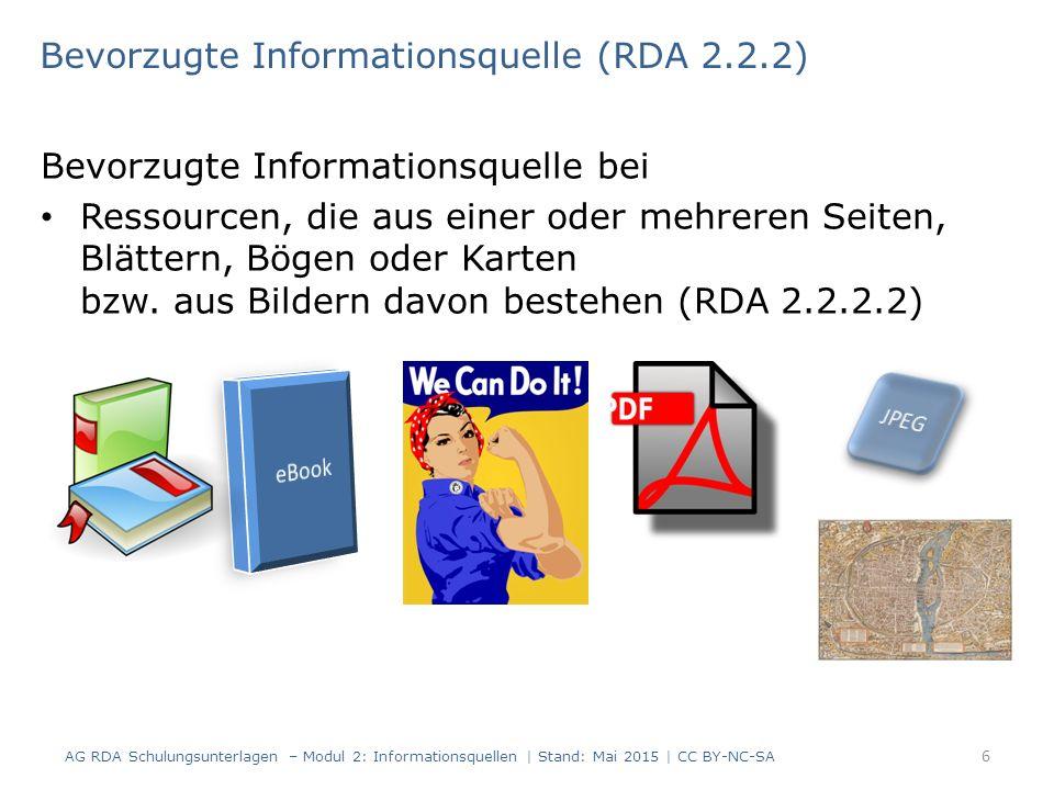 Bevorzugte Informationsquelle bei Ressourcen, die aus einer oder mehreren Seiten, Blättern, Bögen oder Karten bzw.