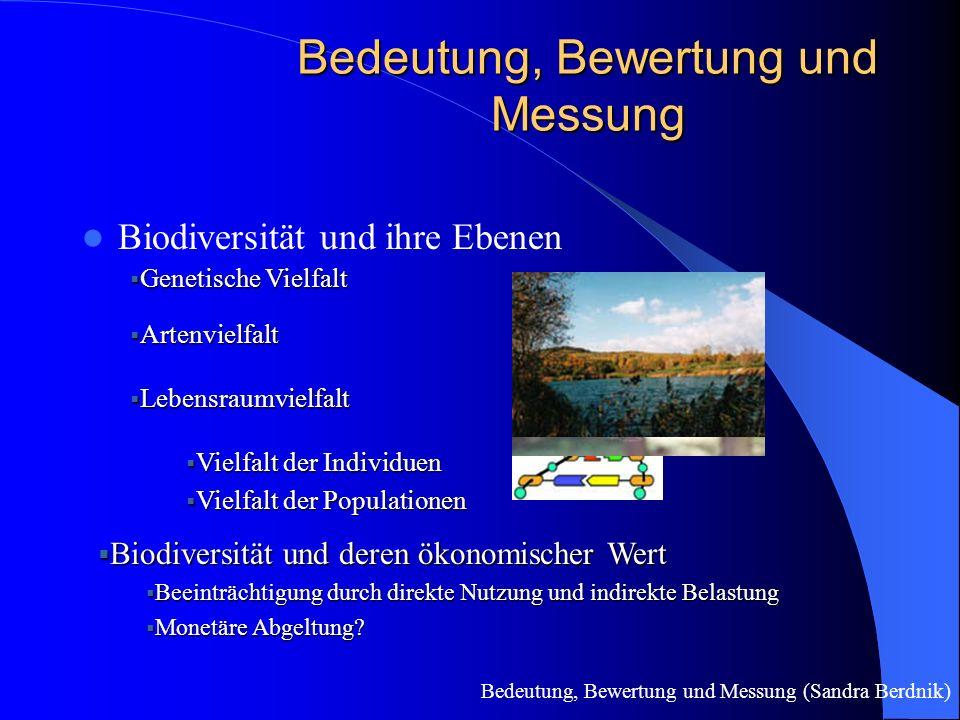 Bedeutung, Bewertung und Messung Biodiversität und ihre Ebenen  Genetische Vielfalt  Artenvielfalt  Lebensraumvielfalt  Vielfalt der Individuen  Vielfalt der Populationen  Biodiversität und deren ökonomischer Wert  Beeinträchtigung durch direkte Nutzung und indirekte Belastung  Monetäre Abgeltung.