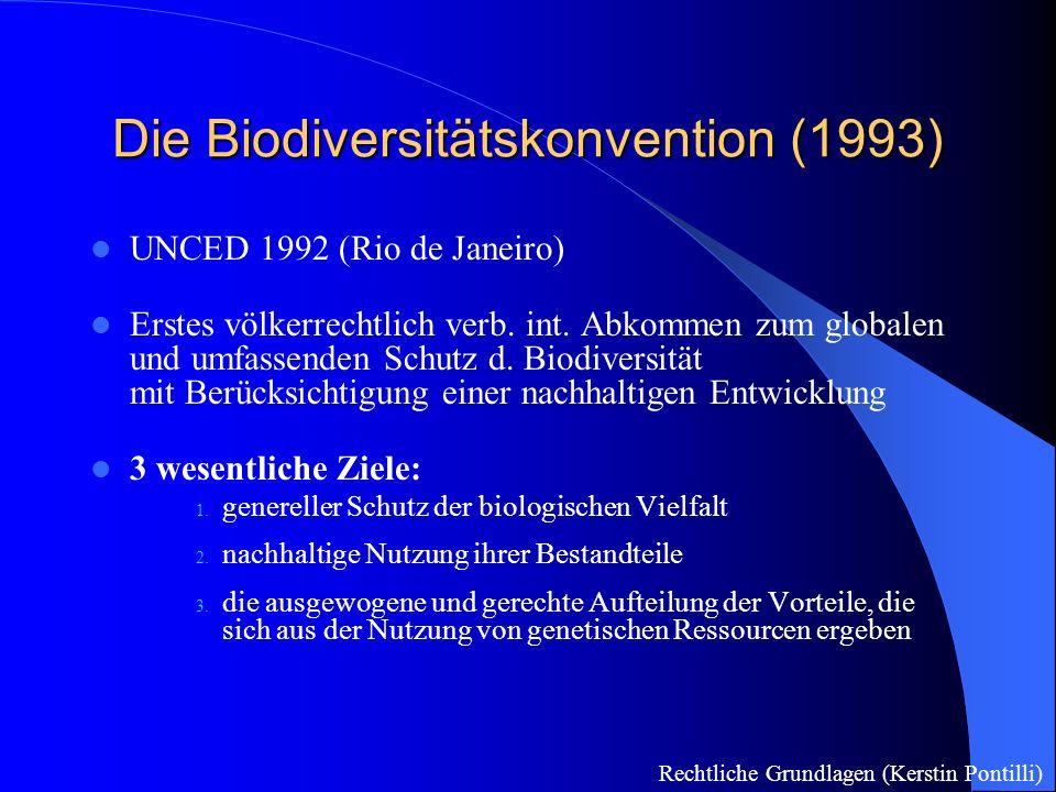 Die Biodiversitätskonvention (1993) UNCED 1992 (Rio de Janeiro) Erstes völkerrechtlich verb.