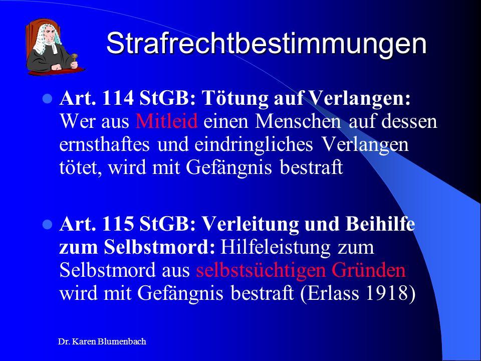 Dr.Karen Blumenbach Strafrechtbestimmungen Art.