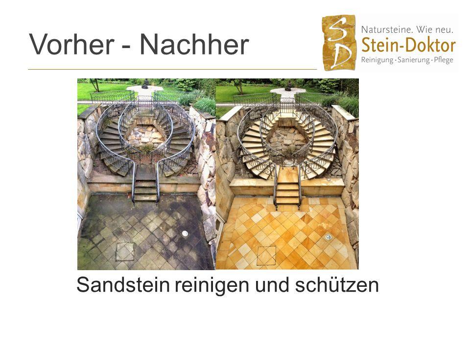 Vorher - Nachher Sandstein reinigen und schützen