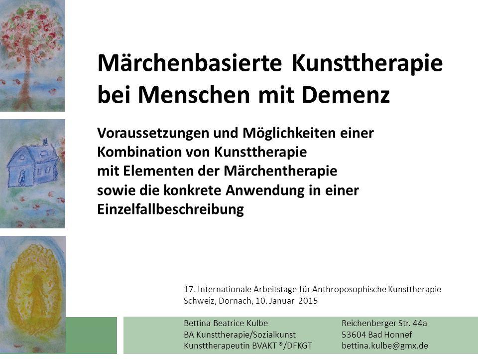 """Thema Thema und Ziel dieses Vortrags ist die Darstellung einer wirksamen Verbindung von Märchen- und Kunsttherapie zu einer """"Märchenbasierten Kunsttherapie für Menschen mit Demenz."""