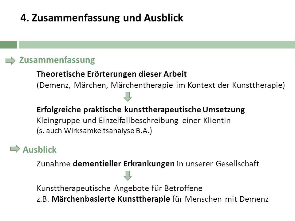 4. Zusammenfassung und Ausblick Theoretische Erörterungen dieser Arbeit (Demenz, Märchen, Märchentherapie im Kontext der Kunsttherapie) Erfolgreiche p