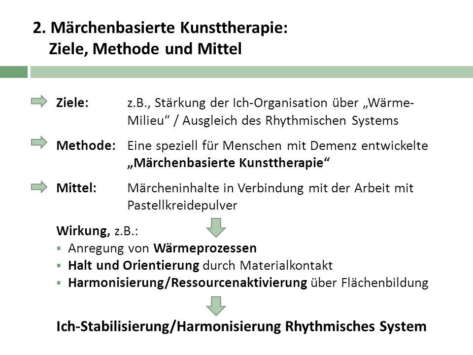 """2. Märchenbasierte Kunsttherapie: Ziele, Methode und Mittel Ziele: z.B., Stärkung der Ich-Organisation über """"Wärme- Milieu"""" / Ausgleich des Rhythmisch"""