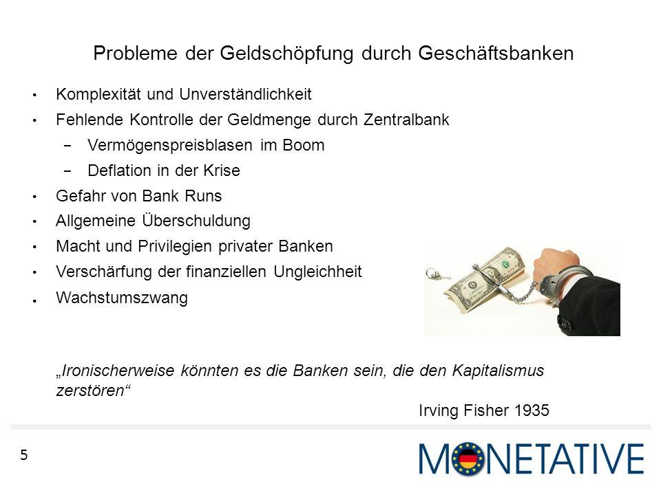 5 Probleme der Geldschöpfung durch Geschäftsbanken ● Komplexität und Unverständlichkeit ● Fehlende Kontrolle der Geldmenge durch Zentralbank – Vermöge