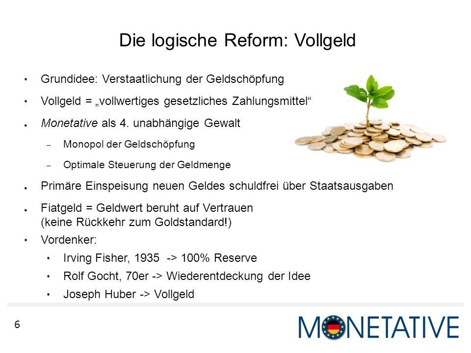 """6 Grundidee: Verstaatlichung der Geldschöpfung Vollgeld = """"vollwertiges gesetzliches Zahlungsmittel"""" ● Monetative als 4. unabhängige Gewalt – Monopol"""