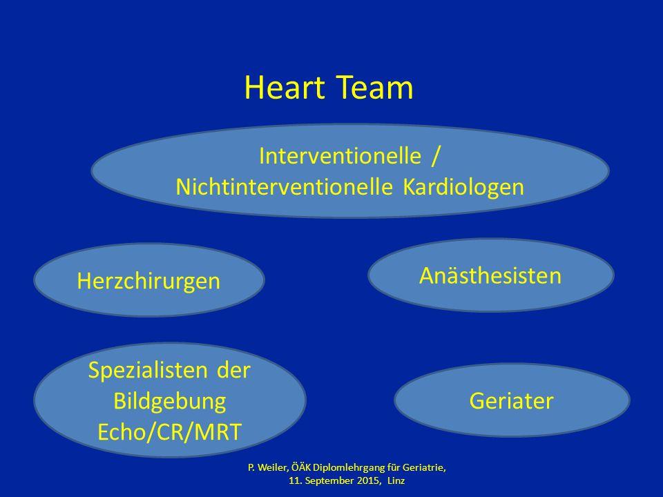Heart Team Interventionelle / Nichtinterventionelle Kardiologen Herzchirurgen Anästhesisten Spezialisten der Bildgebung Echo/CR/MRT Geriater P.