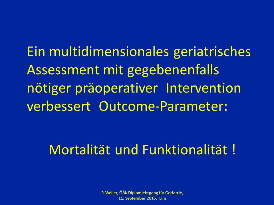 Ein multidimensionales geriatrisches Assessment mit gegebenenfalls nötiger präoperativer Intervention verbessert Outcome-Parameter: Mortalität und Funktionalität .