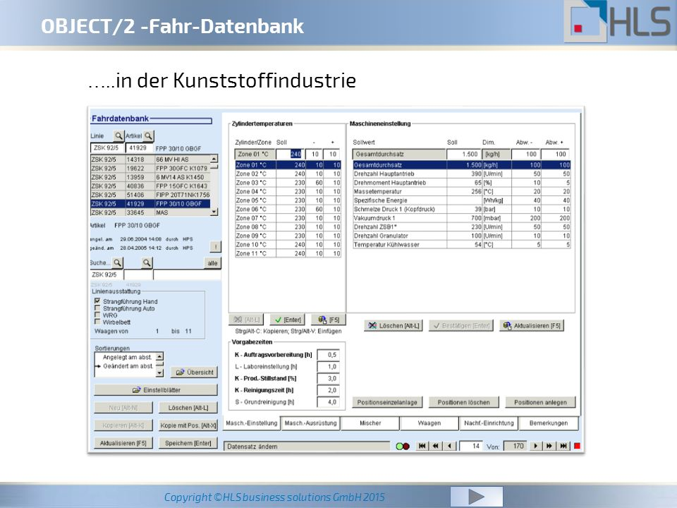 Copyright ©HLS business solutions GmbH 2015 OBJECT/2 -Fahr-Datenbank …..in der Kunststoffindustrie