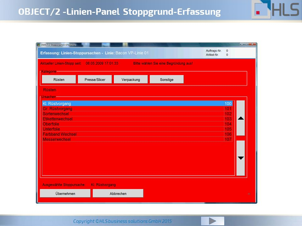 Copyright ©HLS business solutions GmbH 2015 OBJECT/2 -Linien-Panel Stoppgrund-Erfassung