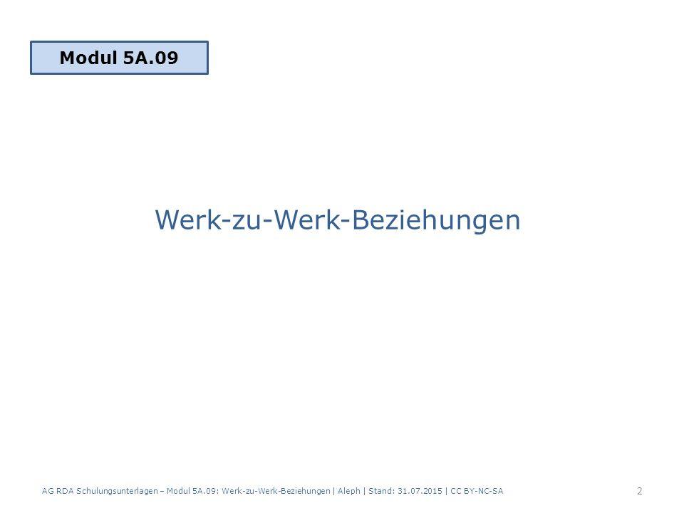 Werk-zu-Werk-Beziehungen Modul 5A.09 AG RDA Schulungsunterlagen – Modul 5A.09: Werk-zu-Werk-Beziehungen | Aleph | Stand: 31.07.2015 | CC BY-NC-SA 2