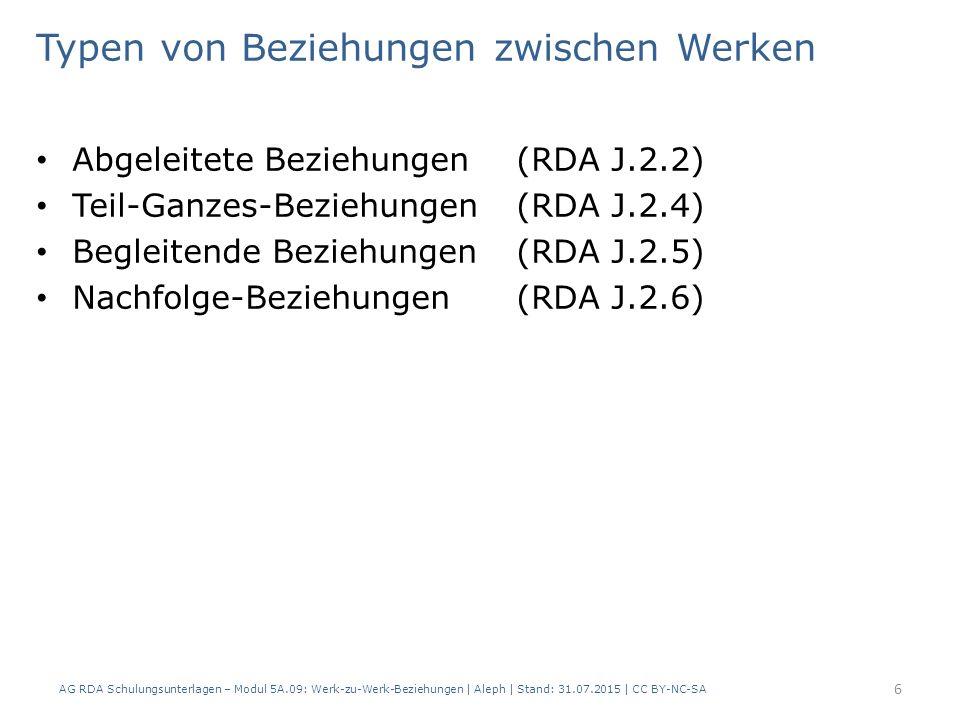Abgeleitete Beziehungen (RDA J.2.2) Teil-Ganzes-Beziehungen (RDA J.2.4) Begleitende Beziehungen (RDA J.2.5) Nachfolge-Beziehungen (RDA J.2.6) Typen von Beziehungen zwischen Werken AG RDA Schulungsunterlagen – Modul 5A.09: Werk-zu-Werk-Beziehungen | Aleph | Stand: 31.07.2015 | CC BY-NC-SA 6