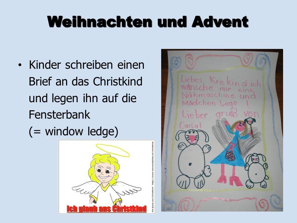 Kinder schreiben einen Brief an das Christkind und legen ihn auf die Fensterbank (= window ledge)