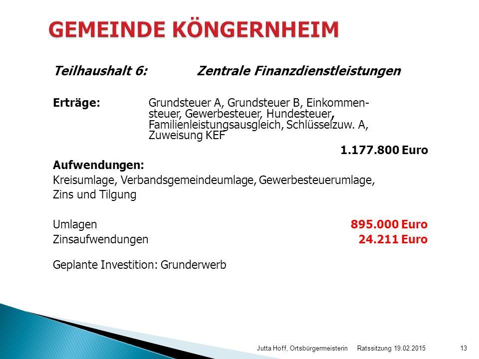 Teilhaushalt 6: Zentrale Finanzdienstleistungen Erträge: Grundsteuer A, Grundsteuer B, Einkommen- steuer, Gewerbesteuer, Hundesteuer, Familienleistungsausgleich, Schlüsselzuw.