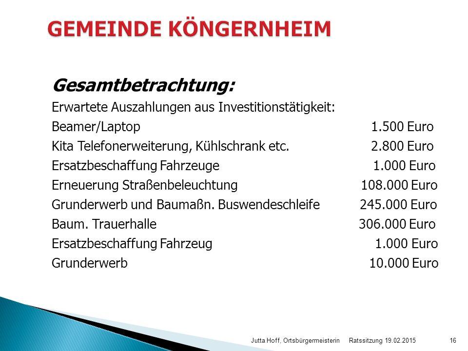 Gesamtbetrachtung: Erwartete Auszahlungen aus Investitionstätigkeit: Beamer/Laptop 1.500 Euro Kita Telefonerweiterung, Kühlschrank etc. 2.800 Euro Ers
