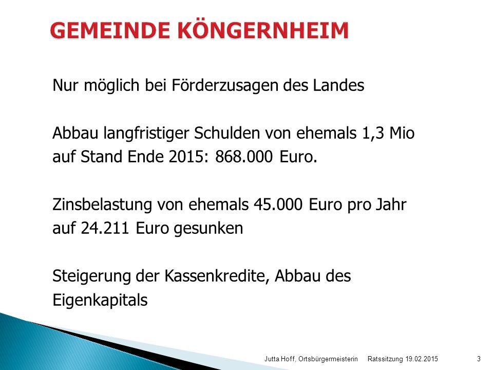 Nur möglich bei Förderzusagen des Landes Abbau langfristiger Schulden von ehemals 1,3 Mio auf Stand Ende 2015: 868.000 Euro. Zinsbelastung von ehemals