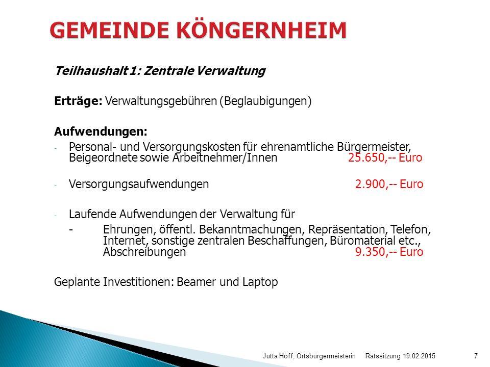 Teilhaushalt 1: Zentrale Verwaltung Erträge: Verwaltungsgebühren (Beglaubigungen) Aufwendungen: - Personal- und Versorgungskosten für ehrenamtliche Bürgermeister, Beigeordnete sowie Arbeitnehmer/Innen25.650,-- Euro - Versorgungsaufwendungen 2.900,-- Euro - Laufende Aufwendungen der Verwaltung für -Ehrungen, öffentl.