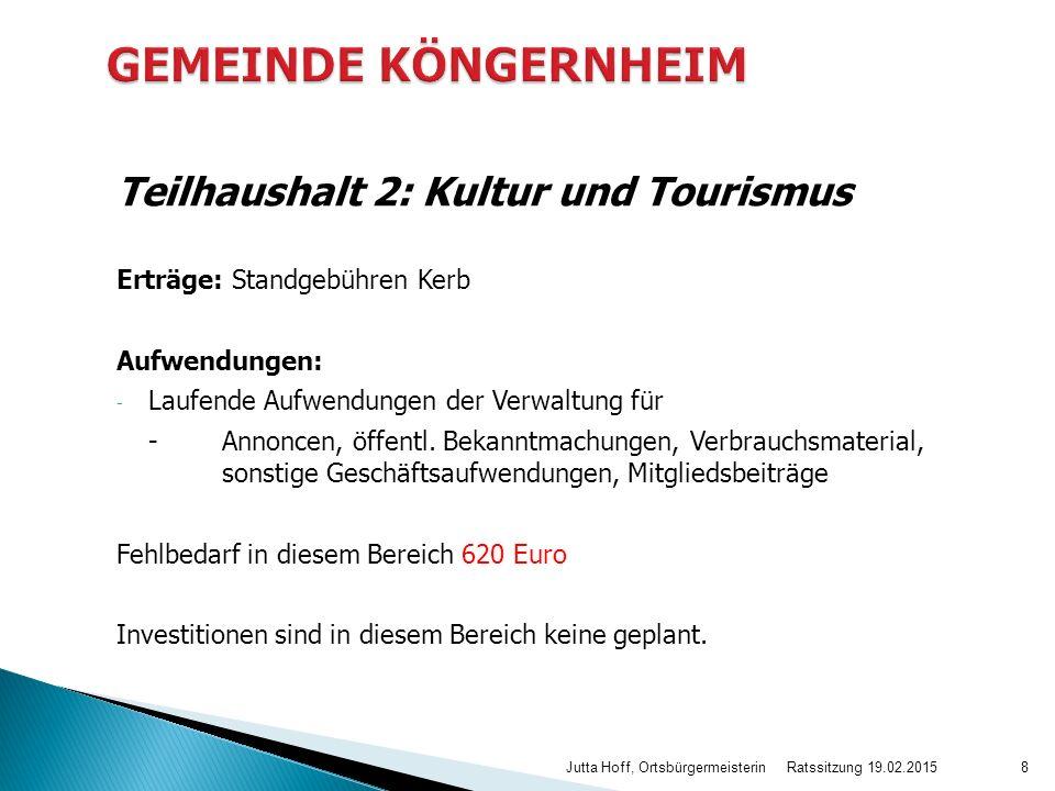 Teilhaushalt 2: Kultur und Tourismus Erträge: Standgebühren Kerb Aufwendungen: - Laufende Aufwendungen der Verwaltung für -Annoncen, öffentl.