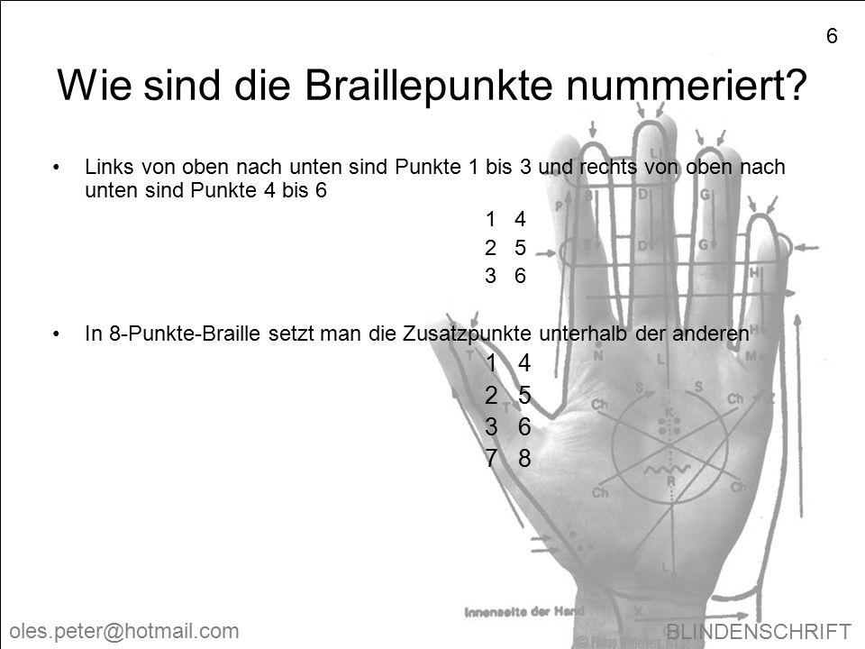 BLINDENSCHRIFT oles.peter@hotmail.com 6 Wie sind die Braillepunkte nummeriert? Links von oben nach unten sind Punkte 1 bis 3 und rechts von oben nach