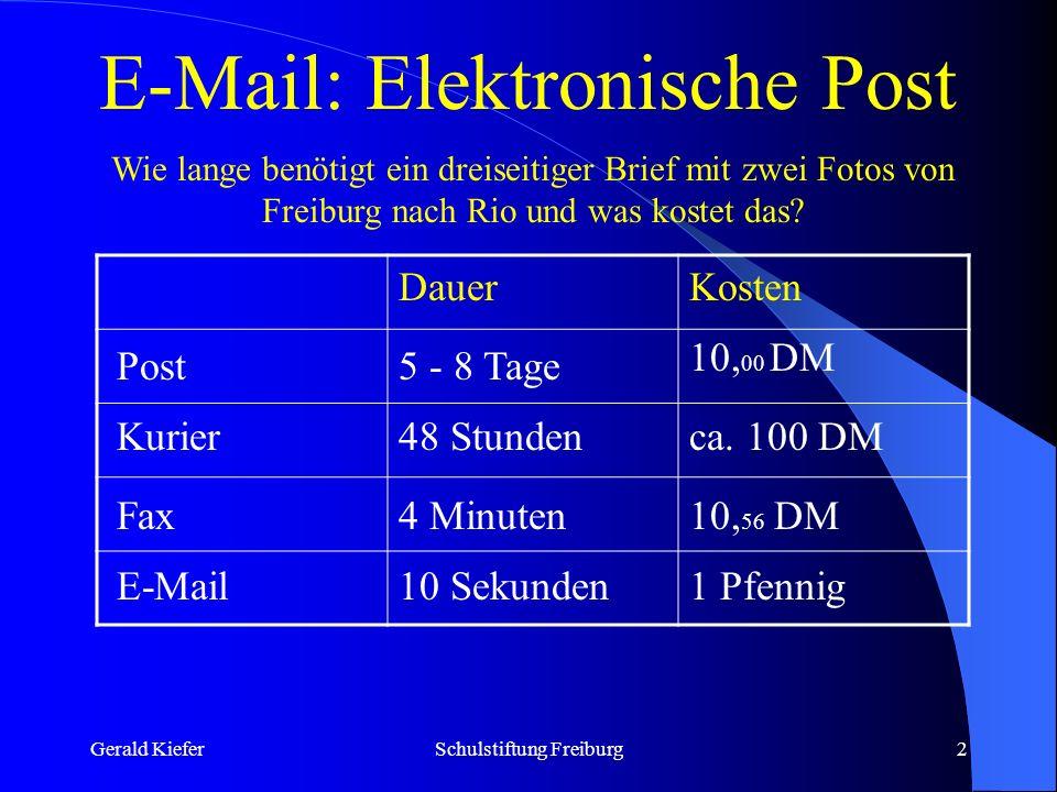 Gerald KieferSchulstiftung Freiburg2 E-Mail: Elektronische Post Wie lange benötigt ein dreiseitiger Brief mit zwei Fotos von Freiburg nach Rio und was kostet das.