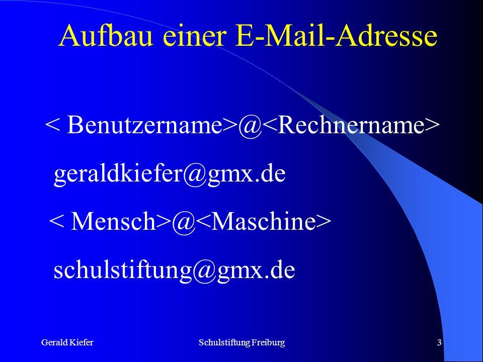 Gerald KieferSchulstiftung Freiburg4 Der Klammeraffe @ Trennungszeichen zwischen Mensch und Maschine Das Zeichen kam auf wunderliche Weise dorthin: durch den Programmierer und Hacker Ray Tomlinson, der 1972 für die damaligen Computernetze den elektronischen Postversand schuf.