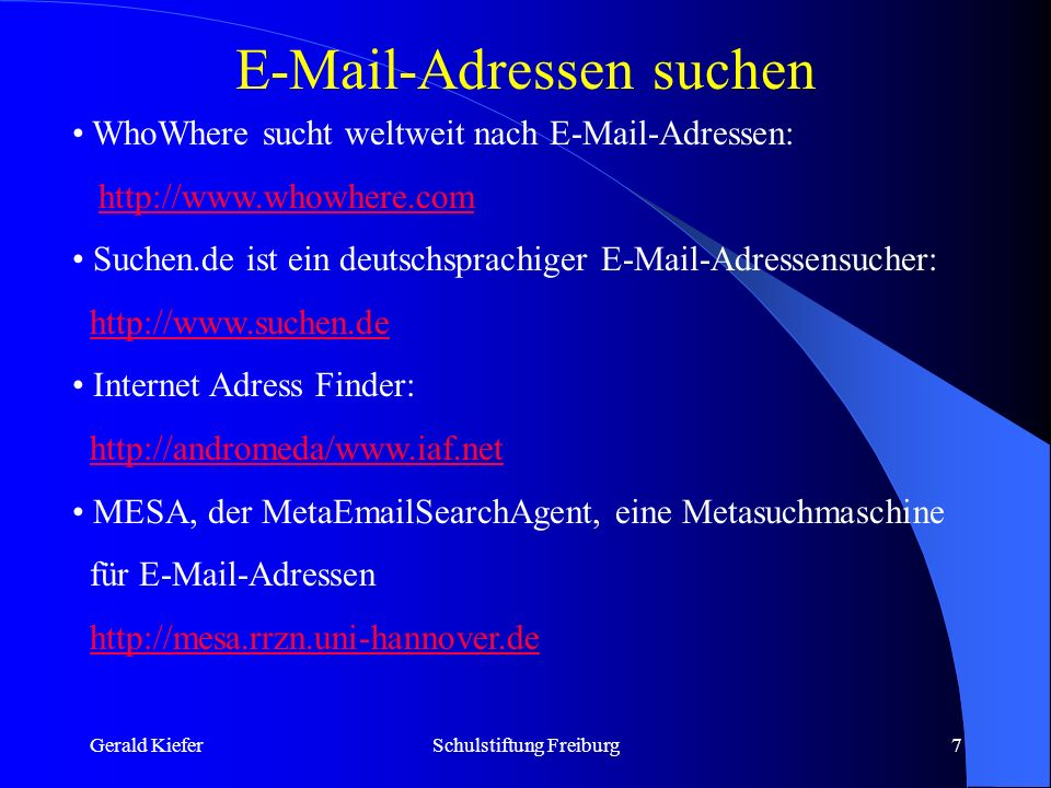 Gerald KieferSchulstiftung Freiburg8 Mailinglisten als Diskussionslisten Eine Diskussionsliste beschäftigt sich mit bestimmten Themen.