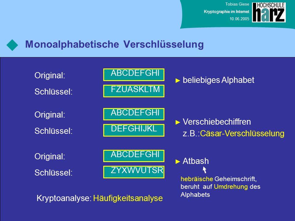Tobias Giese Kryptographie im Internet 10.06.2005 Monoalphabetische Verschlüsselung ABCDEFGHI Original: FZUASKLTM Schlüssel: ABCDEFGHI Original: DEFGH