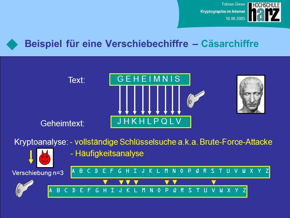 Tobias Giese Kryptographie im Internet 10.06.2005 Beispiel für eine Verschiebechiffre – Cäsarchiffre G E H E I M N I S Text: Geheimtext: J H K H L P Q L V A B C D E F G H I J K L M N O P Q R S T U V W X Y Z Verschiebung n=3 Kryptoanalyse: - vollständige Schlüsselsuche a.k.a.
