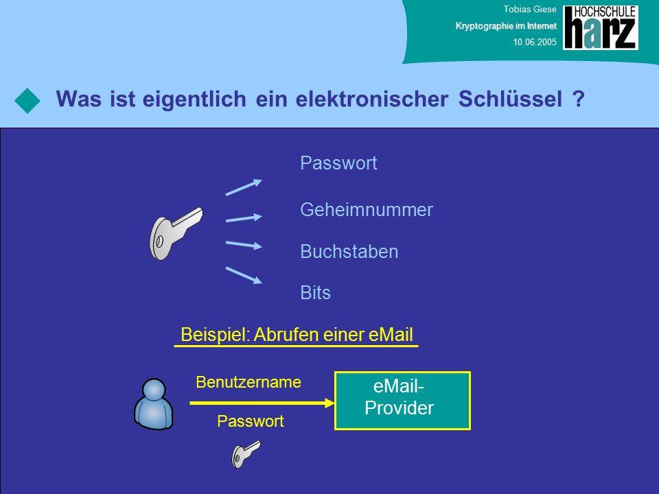 Tobias Giese Kryptographie im Internet 10.06.2005 Was ist eigentlich ein elektronischer Schlüssel .