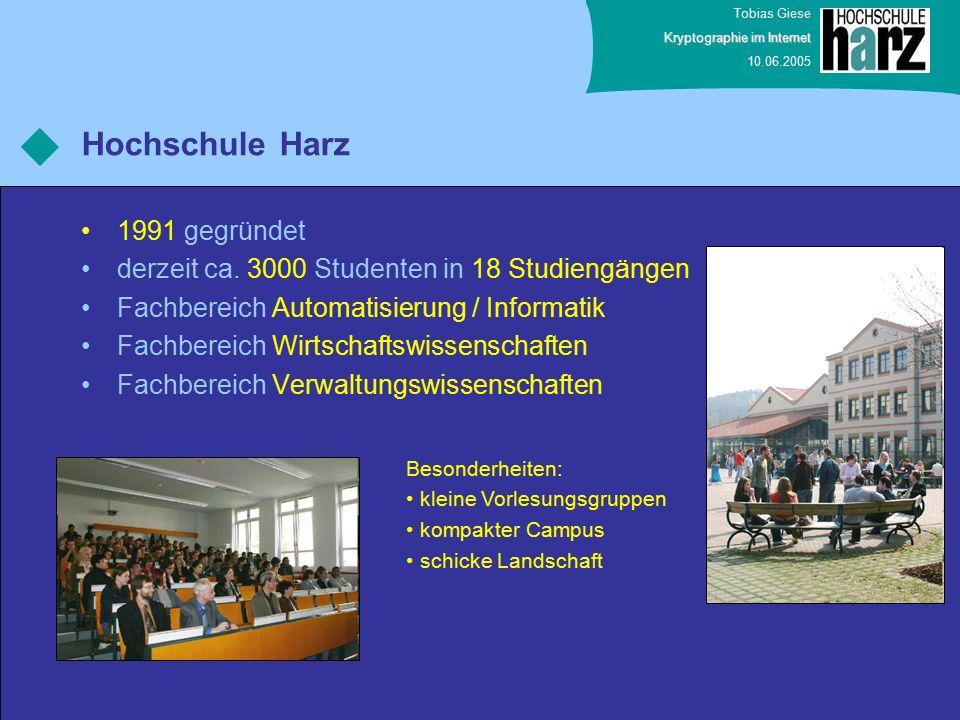 Tobias Giese Kryptographie im Internet 10.06.2005 Vielen Dank für ihre Aufmerksamkeit.