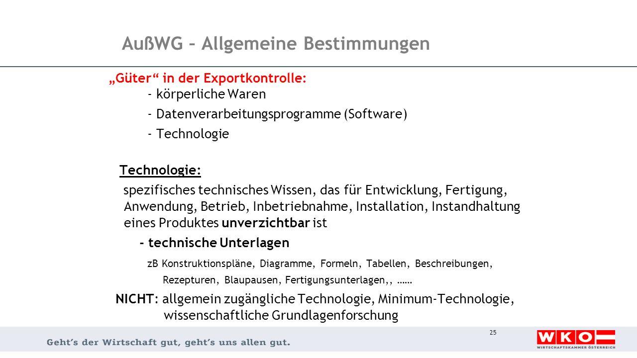 """25 AußWG – Allgemeine Bestimmungen """"Güter"""" in der Exportkontrolle: - körperliche Waren - Datenverarbeitungsprogramme (Software) - Technologie Technolo"""