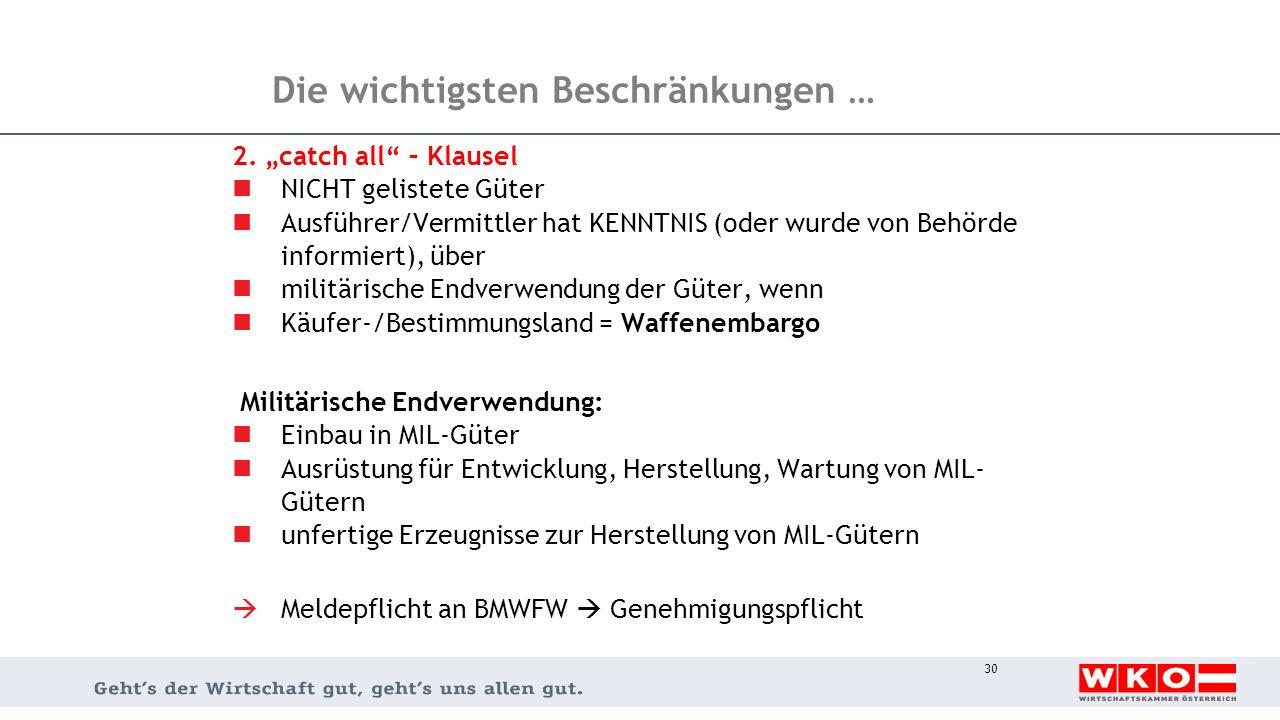"""Die wichtigsten Beschränkungen … 2. """"catch all"""" – Klausel NICHT gelistete Güter Ausführer/Vermittler hat KENNTNIS (oder wurde von Behörde informiert),"""