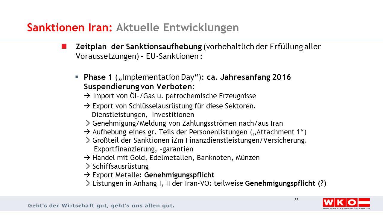 Sanktionen Iran: Aktuelle Entwicklungen Zeitplan der Sanktionsaufhebung (vorbehaltlich der Erfüllung aller Voraussetzungen) – EU-Sanktionen :  Phase