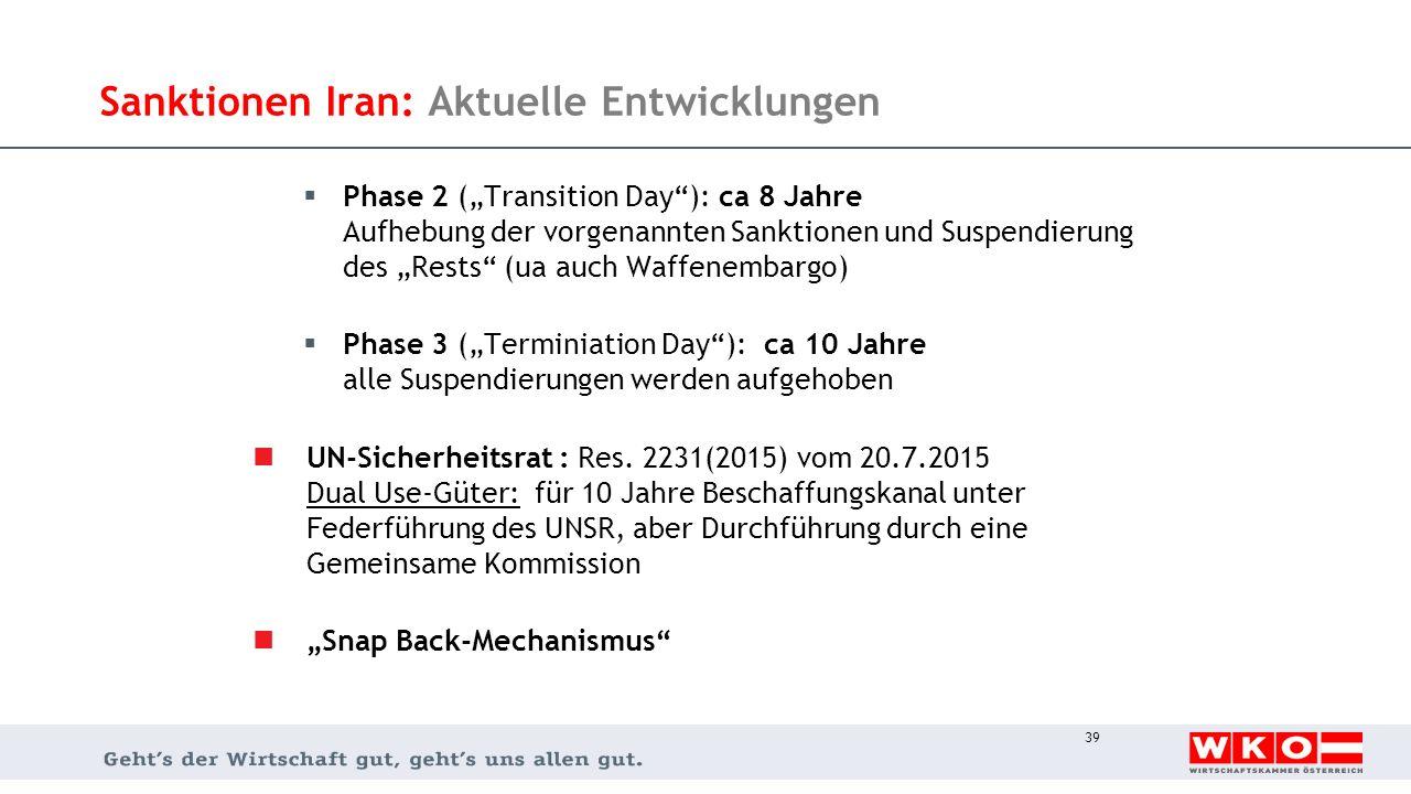 """Sanktionen Iran: Aktuelle Entwicklungen  Phase 2 (""""Transition Day""""): ca 8 Jahre Aufhebung der vorgenannten Sanktionen und Suspendierung des """"Rests"""" ("""