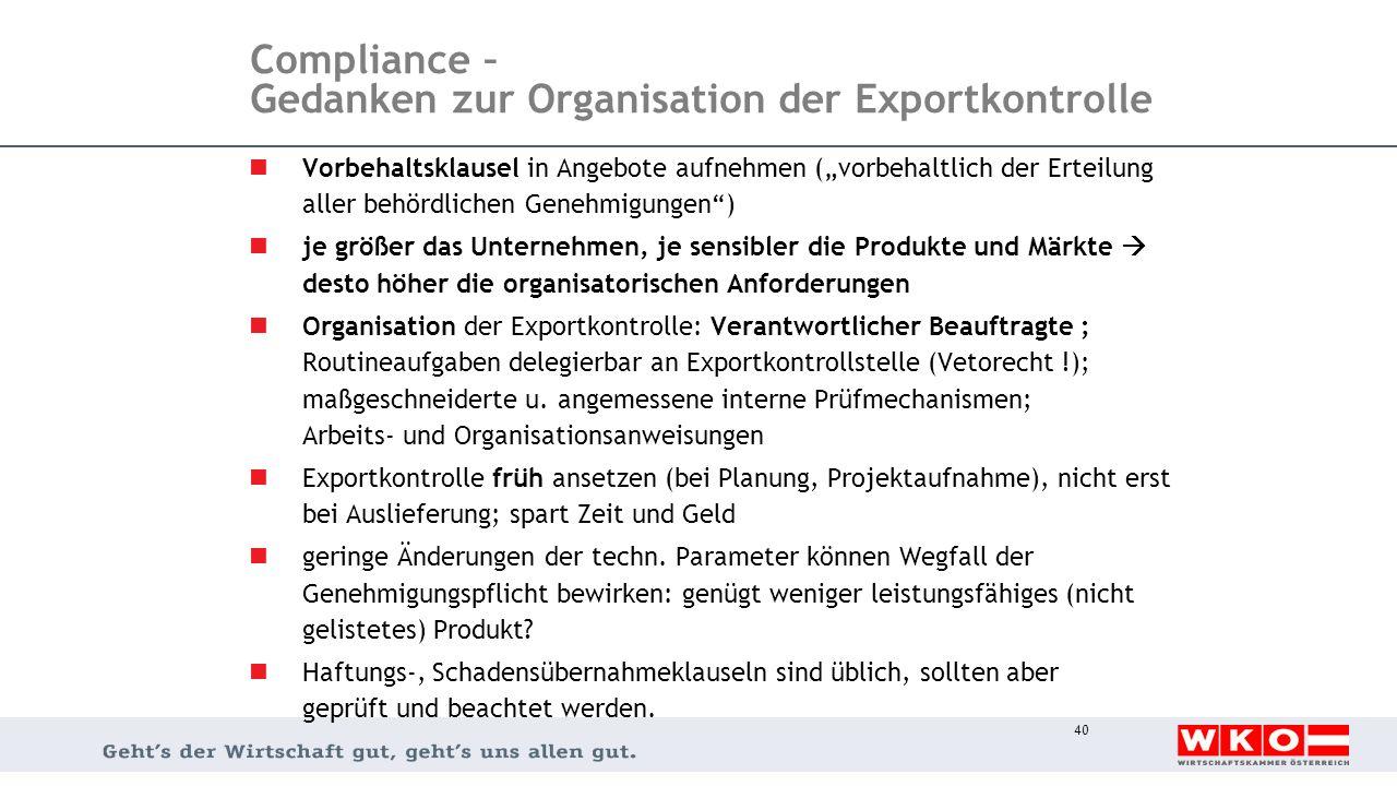 """Compliance – Gedanken zur Organisation der Exportkontrolle Vorbehaltsklausel in Angebote aufnehmen (""""vorbehaltlich der Erteilung aller behördlichen Ge"""