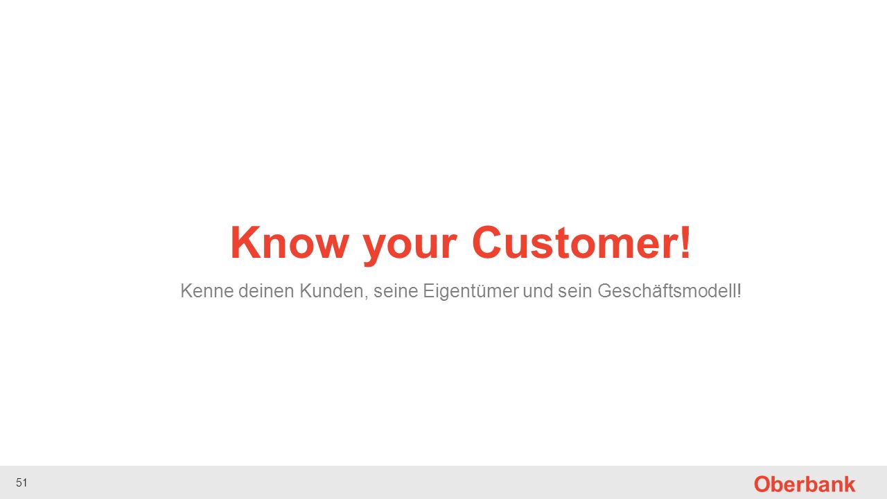 51 Oberbank Know your Customer! Kenne deinen Kunden, seine Eigentümer und sein Geschäftsmodell!