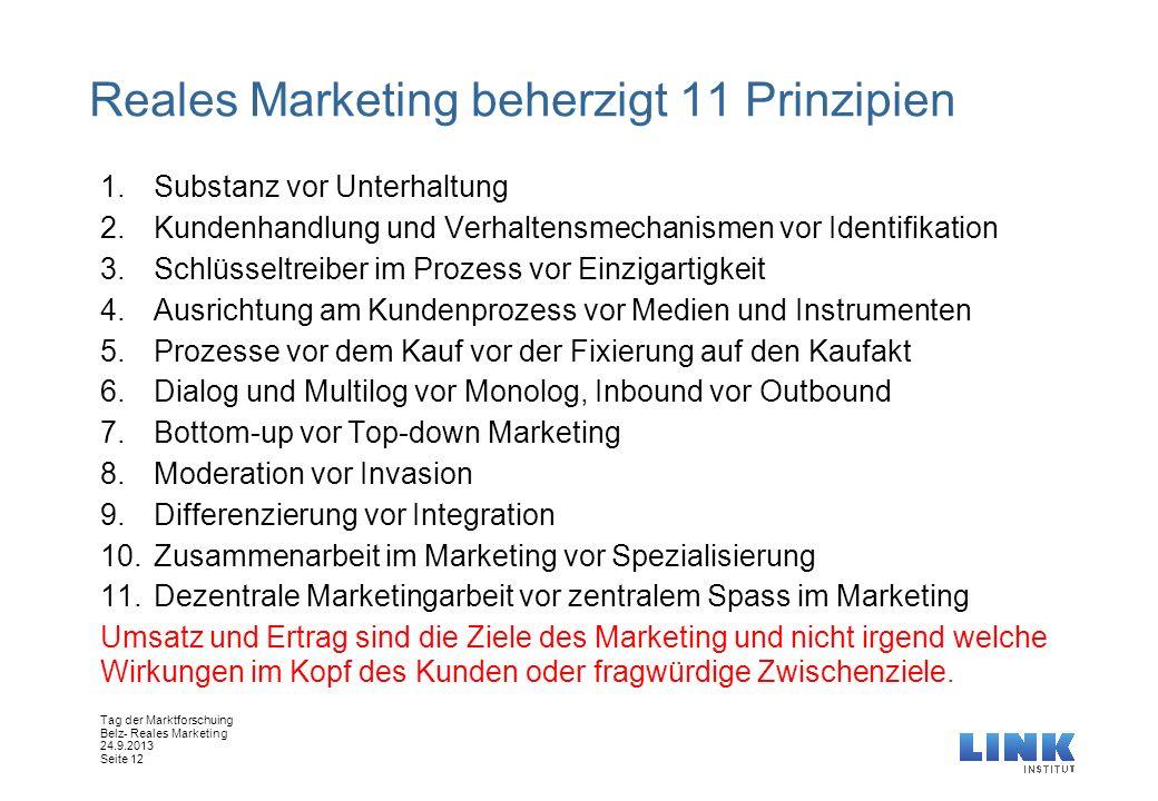 Tag der Marktforschuing Belz- Reales Marketing 24.9.2013 Seite 12 Reales Marketing beherzigt 11 Prinzipien 1.Substanz vor Unterhaltung 2.Kundenhandlun