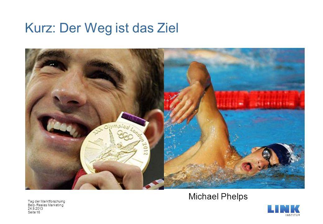 Tag der Marktforschuing Belz- Reales Marketing 24.9.2013 Seite 16 Kurz: Der Weg ist das Ziel Michael Phelps