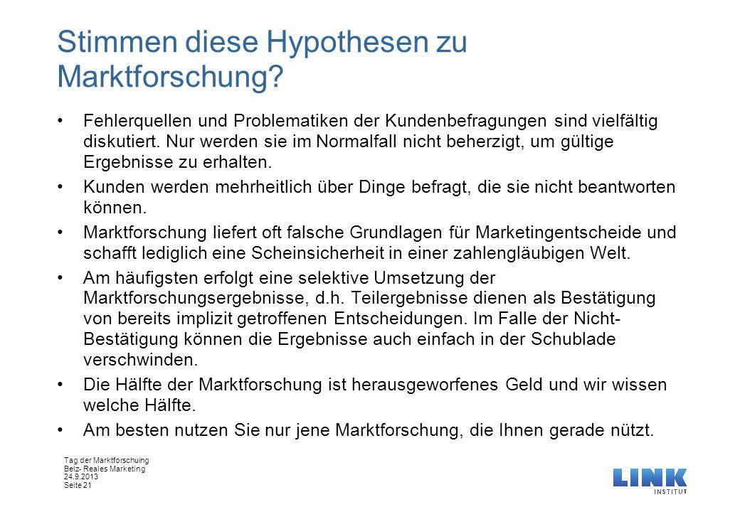 Tag der Marktforschuing Belz- Reales Marketing 24.9.2013 Seite 21 Stimmen diese Hypothesen zu Marktforschung? Fehlerquellen und Problematiken der Kund