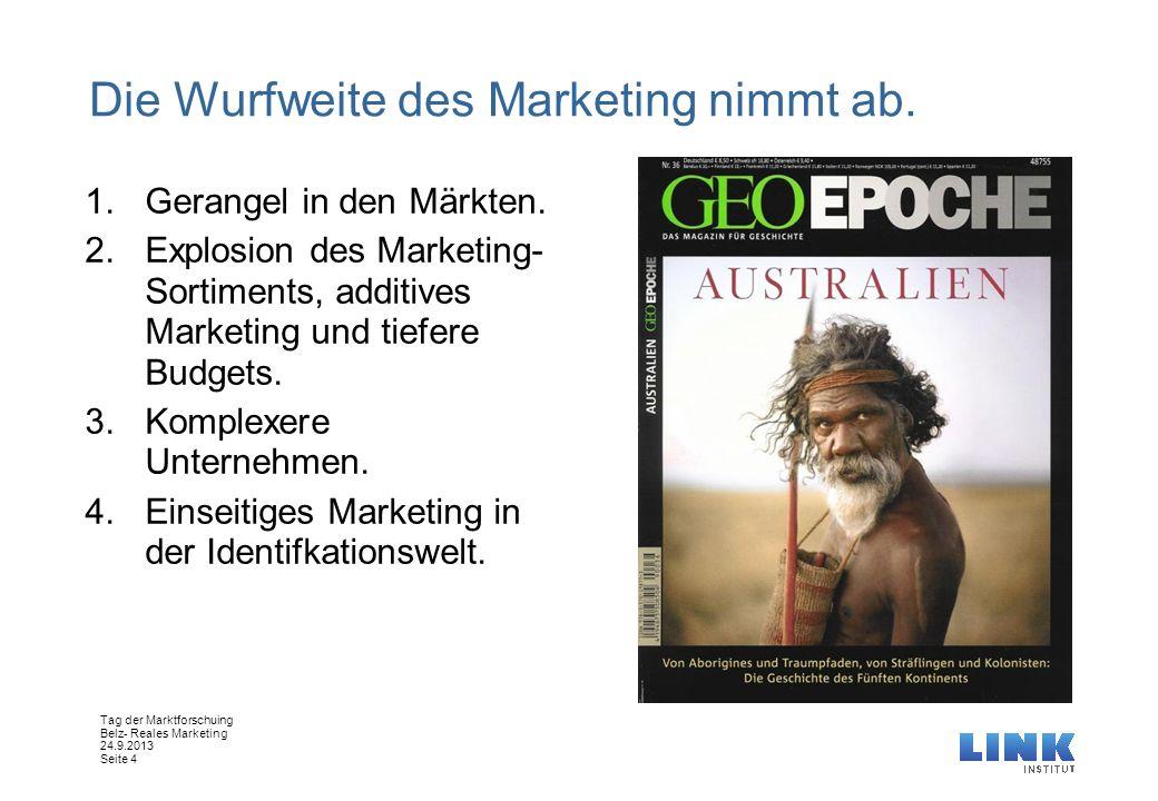 Tag der Marktforschuing Belz- Reales Marketing 24.9.2013 Seite 4 Die Wurfweite des Marketing nimmt ab. 1.Gerangel in den Märkten. 2.Explosion des Mark